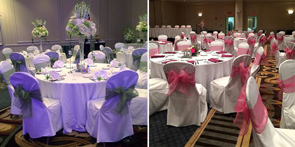 White Chair Covers With Blue Ribbon And Roses